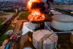 An oil tanker on fire in Apapa, Lagos, 5 November