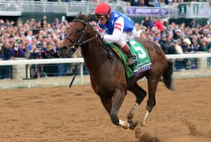 Runhappy, trained by Maria Borell, wins the Breeders' Cup Sprint at Keeneland Racecourse on October 31, 2015 in Lexington, Kentucky.
