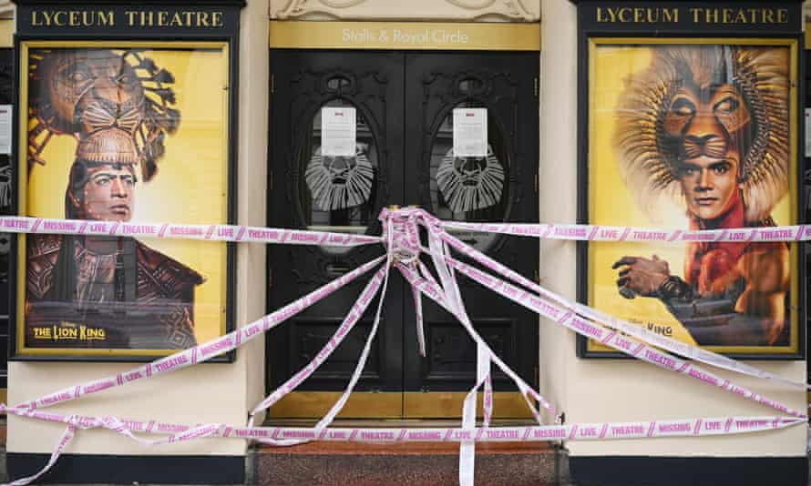 The Lyceum Theatre in London is taped up after closing due to coronavirus
