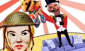 Illustration of Amanda Holden in helmet and Phillip Schofield standing on sofa