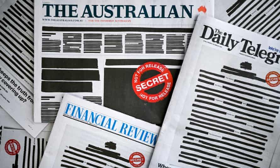 The front pages of some major newspapers replicated a heavily redacted government document