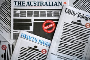 Canberra, Australia: Newspaper front pages replicate a heavily redacted government document, alongside an advertising campaign challenging laws that in effect criminalise journalism and whistleblowing