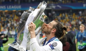 Gareth Bale with the Champions League trophy on 26 May.