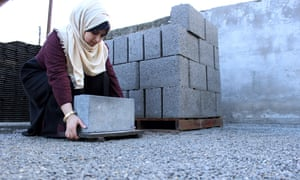 Majd Mashharawi produces cement blocks and stones in Gaza from the remains of houses destroyed by Israeli shelling during the 50-day Israeli war in the summer of 2014.