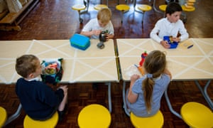 Children eating socially-distanced lunch at Kempsey primary school in Worcester in May
