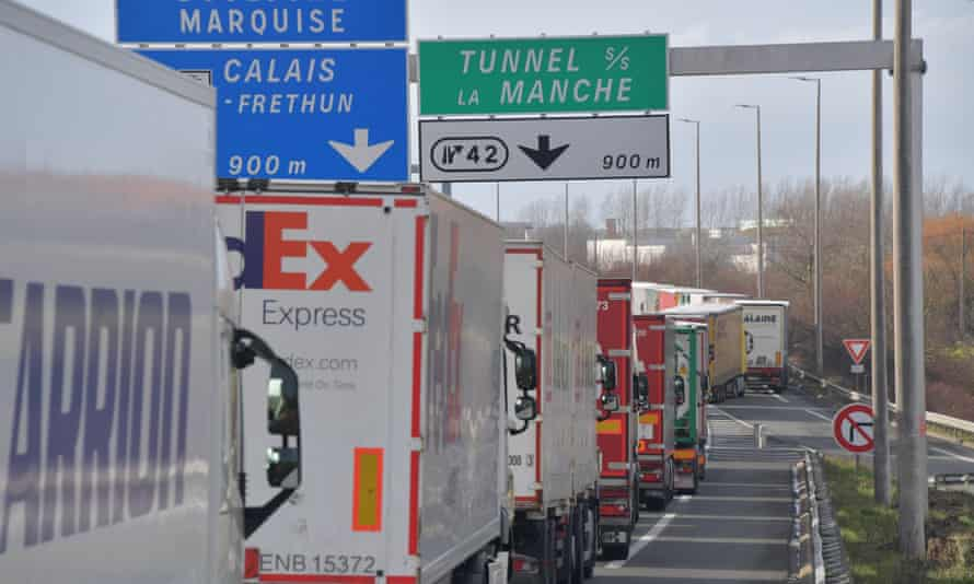 Goods lorries heading to the Channel tunnel stuck in a traffic jam in early 2020