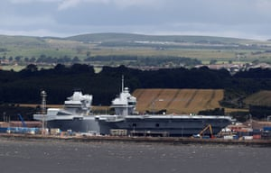 HMS Queen Elizabeth sits docked in the sunshine at Rosyth dockyard near Edinburgh ahead of her sea trials Sunday June 25.