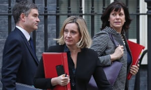 David Gauke, Amber Rudd and Claire Perry leave a cabinet meeting