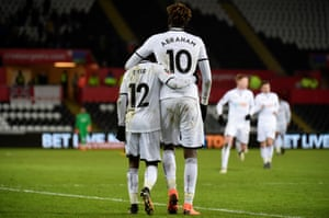 Nathan Dyer celebrates with Tammy Abraham after scoring for Swansea in the FA Cup but can the team get enough goals to stay in the Premier League?
