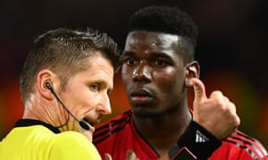Paul Pogba reacts to being sent off by Daniele Orsato towards the end of Manchester United's 2-0 defeat by PSG