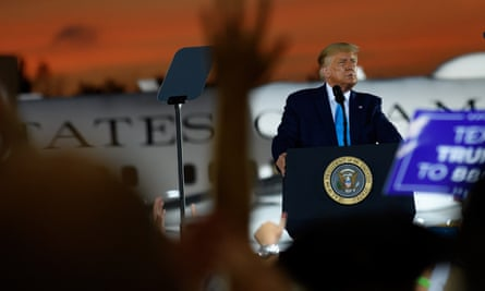 Donald Trump speaks to supporters at a campaign rally at Arnold Palmer regional airport on 3 September 2020 in Latrobe, Pennsylvania.