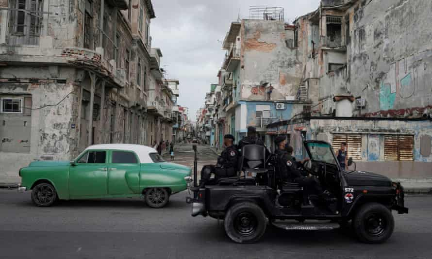 A special forces vehicle patrols downtown Havana on Monday.
