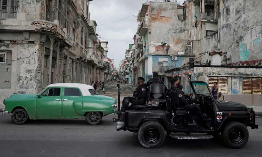 A special forces patrol in central Havana on 13 July after the protests.