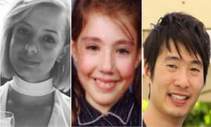 Three of the five victims of the Melbourne car attack: (left to right) Jess Mudie, Thalia Hakin and Matthew Si.