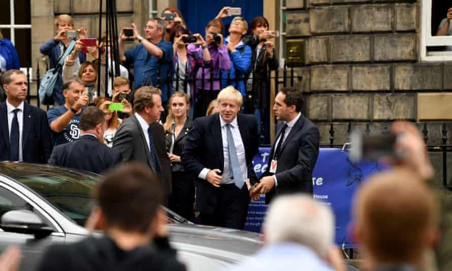 Boris Johnson arrives for a meeting with Nicola Sturgeon in Edinburgh