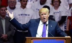 Donald Trump addresses supporters in Las Vegas.
