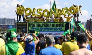 Bolsonaro supporters in front of the national congress in Brasília on 26 May.