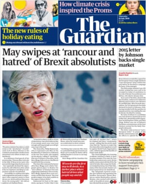 Guardian front page, Thursday 18 July 2019