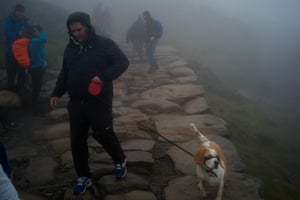A man walks his dog back down from the summit of Snowdon.