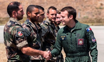 France's president, Emmanuel Macron, meets troops at an airbase in south-eastern France.