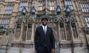 Idris Elba outside the Houses of Parliament, where he made a speech about diversity in television.