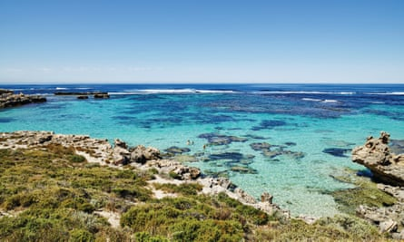 Landscape view of Rottnest Island on a sunny day. Western Australia.