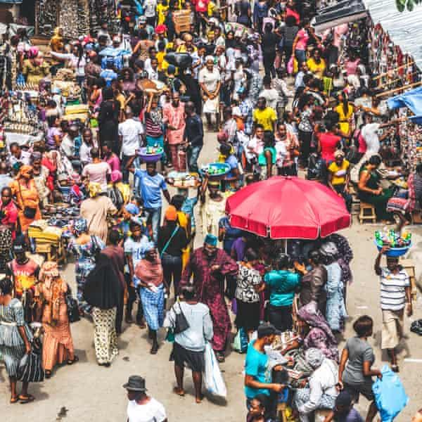 A street market in Lagos.