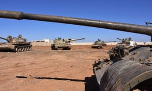 Syrian tanks on the eastern outskirts of Aleppo.