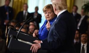 Angela Merkel speaks in the East Room of the White House.