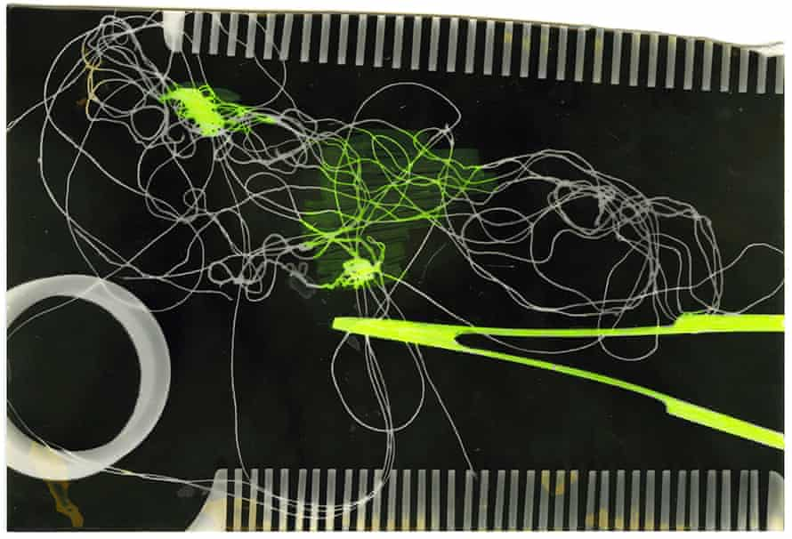 Photogram Nr 1 – black-and-white photograph with fluorescent marker (1994)