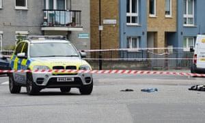 The scene of the shooting in Hackney
