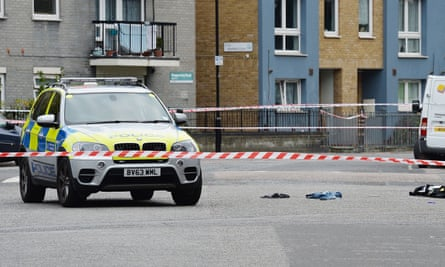 The scene of the shooting in Hackney