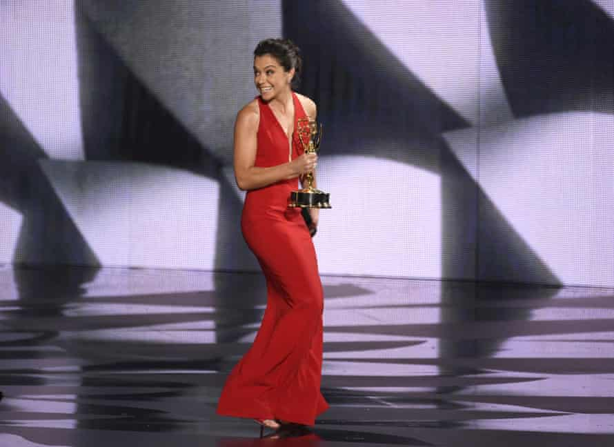 """Tatiana Maslany accepts the award for outstanding lead actress in a drama series for """"Orphan Black""""."""