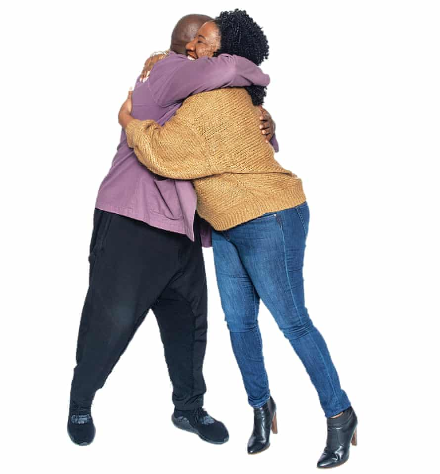 Steve McQueen and Tarana Burke hugging