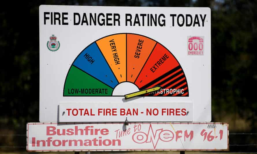 fire danger warning sign on catastrophic