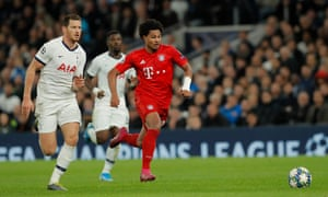 Bayern Munich's Serge Gnabry races through before slotting the ball home for his hat-trick.