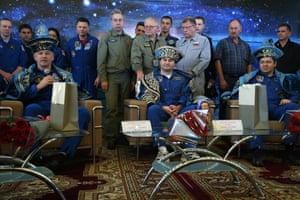 Zhezkazgan, Kazakhstan: Nasa astronaut Jeff Williams and Russian cosmonauts Alexei Ovchinin and Oleg Skripochka, dressed in Kazakh national dress, attend a press conference in Karaganda