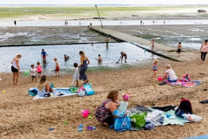Families on  a beach