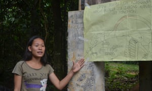 Vanessa Flores talking about climate change at the Apu Palamguwan Cultural Education Center in Mindanao, Philippines.