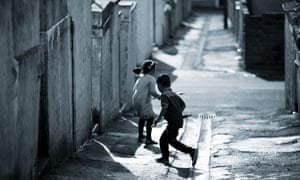 Children playing in deprived area
