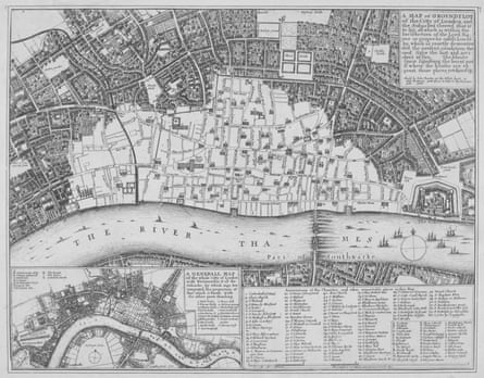 Map showing the extent of the damage caused by the Great Fire of London, 1666.