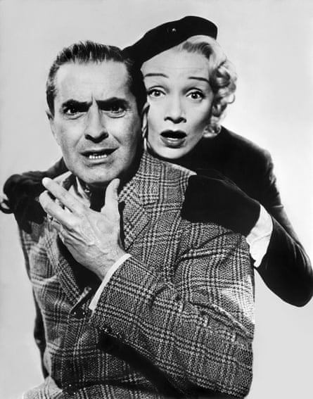 Tyrone Power and Marlene Dietrich in a publicity shot for Witness for the Prosecution (1957).