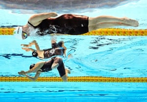 New Zealand's Sophie Pascoe (bottom) and Ellen Keane compete in their women's SB8 100m breaststroke heat. Irish swimmer Keane went on to take gold in the final