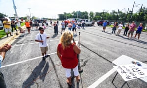 Sandra German, president of the Greater FernGlen Community Association, at a gathering of locals who want the Cromwell light rail stop in Glen Burnie, Maryland, shut.
