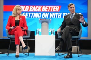 Jacob Rees Mogg being interviewed at the conference by Dehenna Davison.