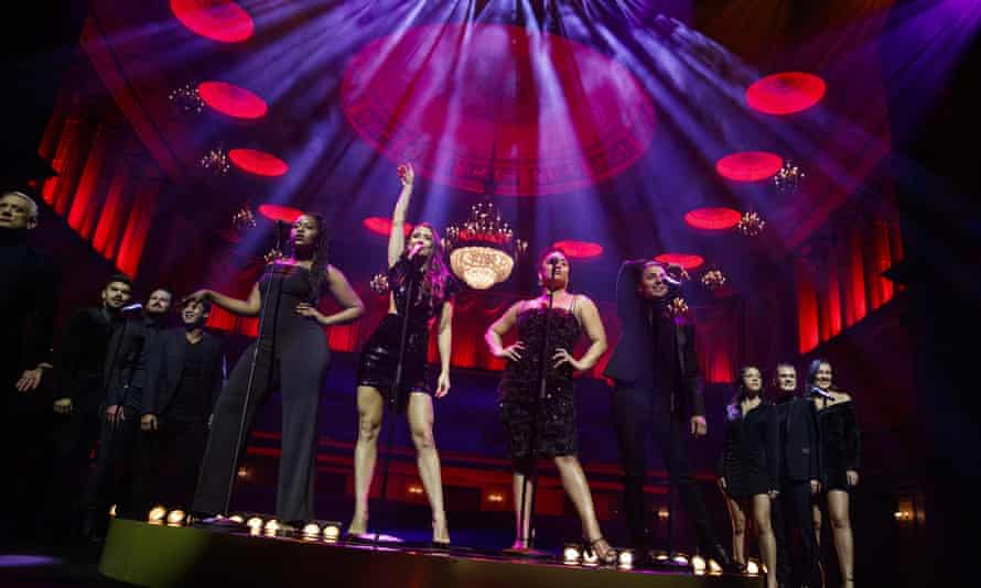 Actors perform during a media call for Moulin Rouge!  The Musical at the Regent Theater, Melbourne in May 2021