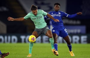 Wilfried Ndidi tussles with Everton's Dominic Calvert-Lewin while filling in at centre-back for Leicester.