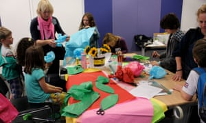 Flower creations with Louise Walker at Guardian Cartoon and art family day, 10 October 2015.