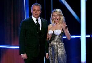 Matt LeBlanc and Kristen Bell speak onstage