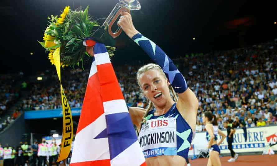 Keely Hodgkinson after winning the Diamond League 800m title in Zurich